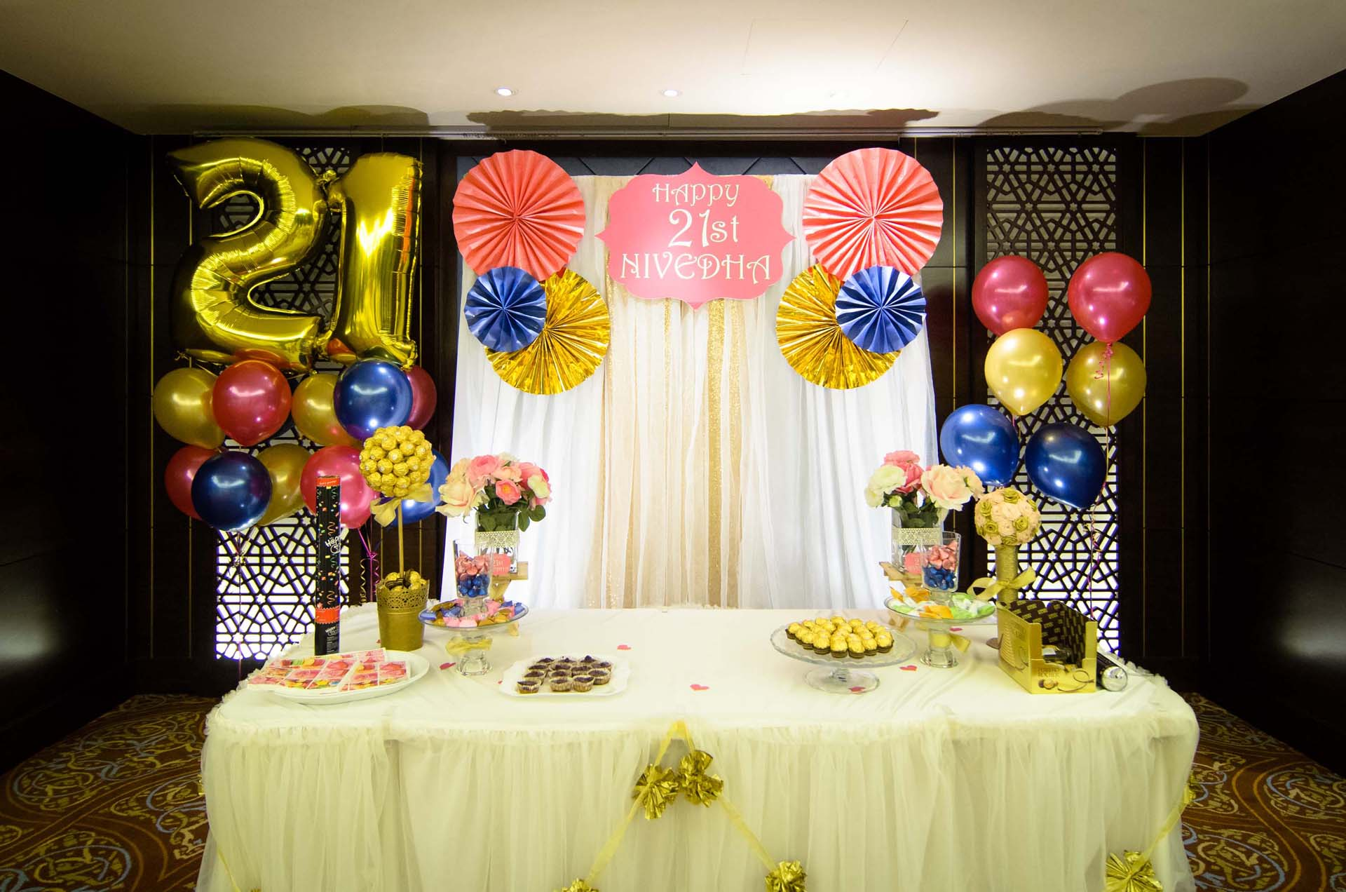 The Cake Table And Decorations At A 21st Birthday Party Photography Service By