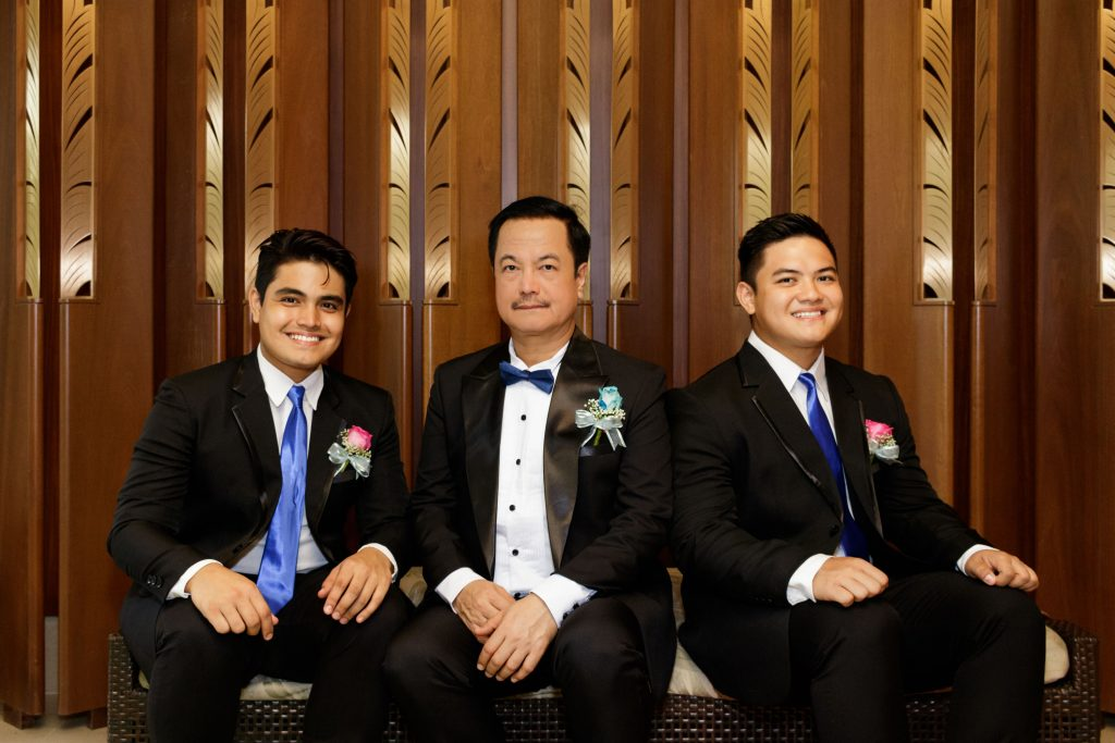 The groom and groomsmen at a wedding anniversary.