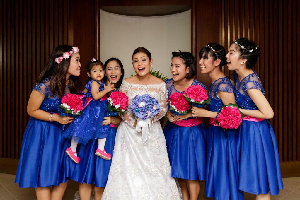 The bride with her daughters and bridesmaids.