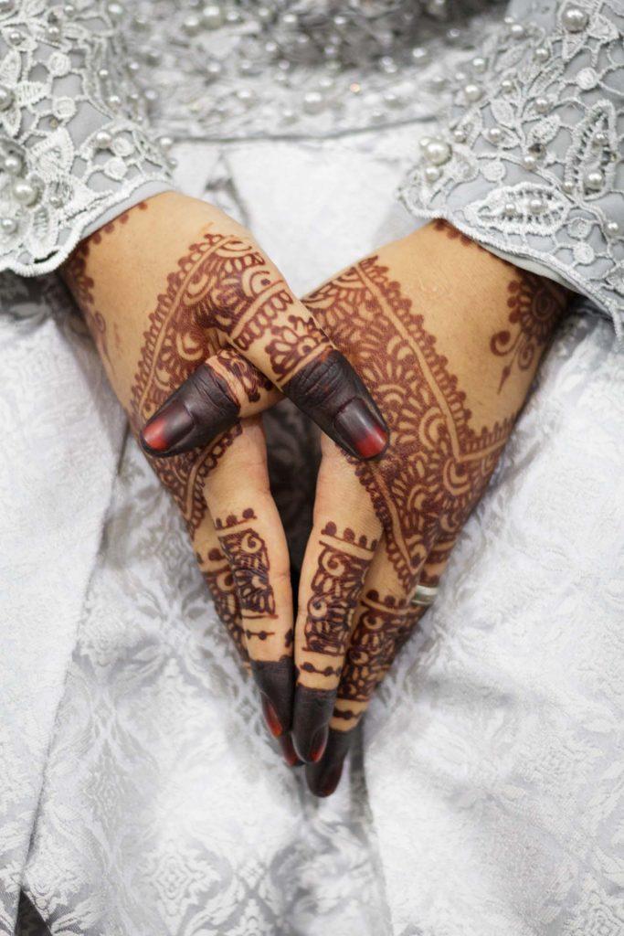The bride's hands.