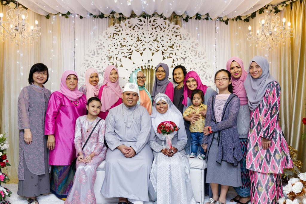 A group photo at a Singapore Muslim wedding.