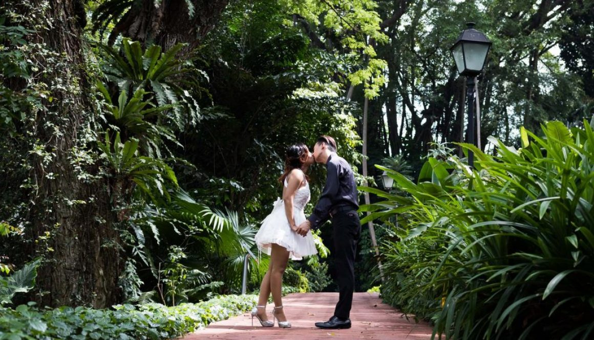 A photo of a couple at Fort Canning Park.