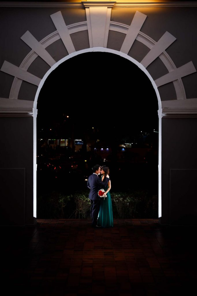 A portrait of the couple at Goodwood Park Hotel.
