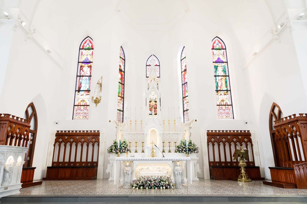 The altar at the Church of Saints Peter and Paul, Singapore.