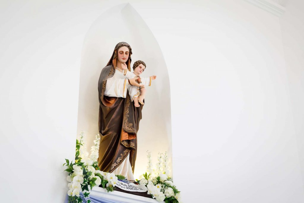 The statue of Mother Mary and the Infant Jesus at the Church of Saints Peter and Paul, Singapore.