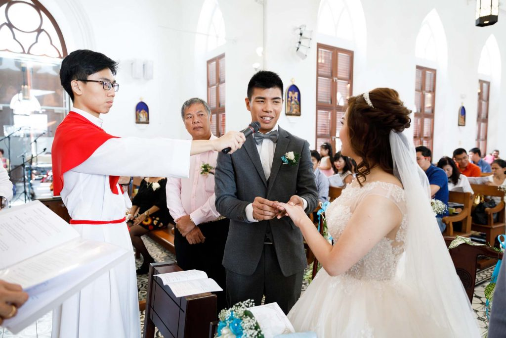 A wedding at the Church of Saints Peter and Paul, Singapore.