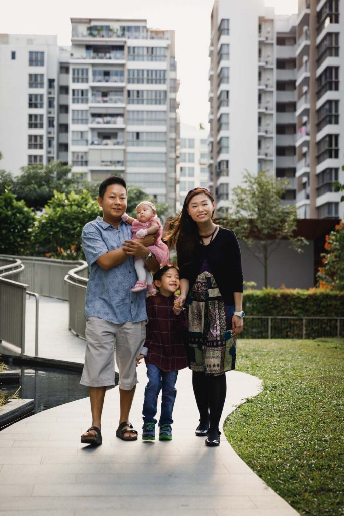 A family portrait at a Baby Shower at Ripple Bay, Singapore.
