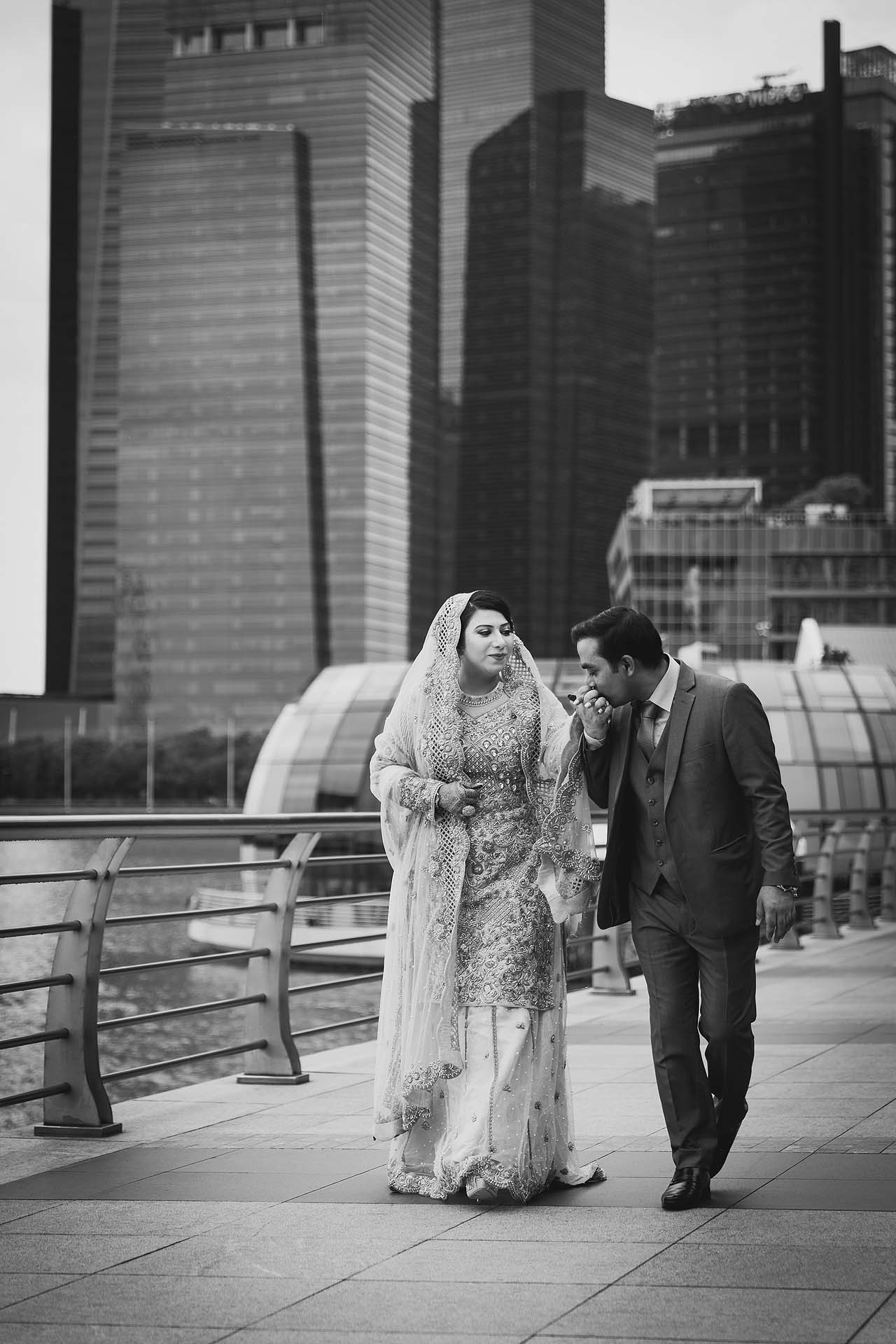 Wedding portraits at Marina Bay.
